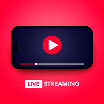 Vector illustration live stream concept with play button on smartphone screen for online broadcast, streaming service