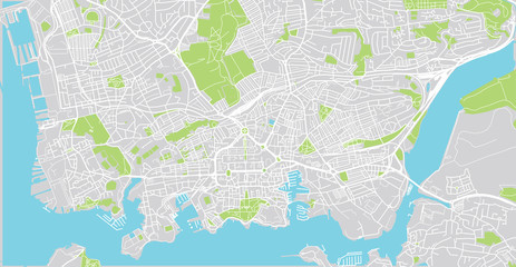 Urban vector city map of Plymouth, England