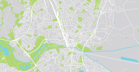 Urban vector city map of Peterborough, England