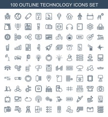 technology icons. Set of 100 outline technology icons included server, broken battery, brick wall fire on white background. Editable technology icons for web, mobile and infographics.