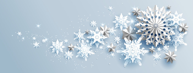 Fotomurales - Facebook Web Banner Social Media template. Shine winter decoration with snowflakes, stars and balls.