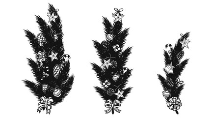 Pine leaf with christmas ornament silhouette on white background.Black and white graphic vector by hand drawing
