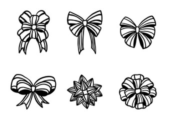 Set of christmas bow silhouette on white background.Black and white ornament vector by hand drawing