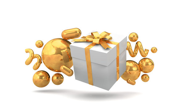 Seasonal festive gift boxes with colorful decorations. 3D Rendering