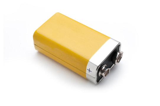 Blank 9v battery isolated on white background
