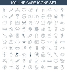 care icons. Set of 100 line care icons included soap, comb, cloth hanging, hand holding heart, heart on hand on white background. Editable care icons for web, mobile and infographics.