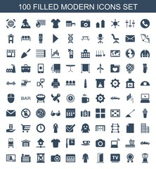 modern icons. Set of 100 filled modern icons included airport tower, award, TV, door, jacket, calendar, camera on white background. Editable modern icons for web, mobile and infographics.