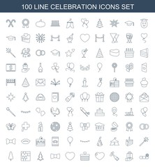 celebration icons. Set of 100 line celebration icons included snowflake, gift on hand, champagne, heart on white background. Editable celebration icons for web, mobile and infographics.