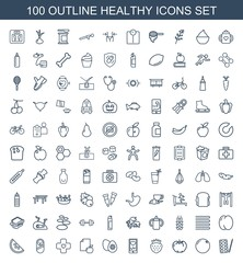 healthy icons. Set of 100 outline healthy icons included paints, orange, apple, strawberry, heartbeat on phone on white background. Editable healthy icons for web, mobile and infographics.