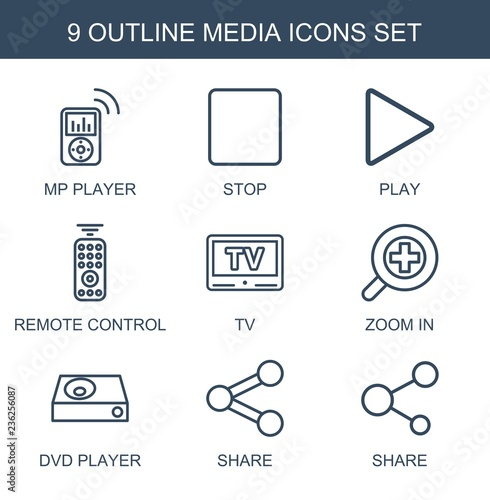 media icons  Set of 9 outline media icons included mp player, stop