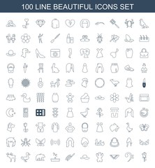 beautiful icons. Set of 100 line beautiful icons included rose, bass clef, cravat, bear, woman hat, hair brush on white background. Editable beautiful icons for web, mobile and infographics.