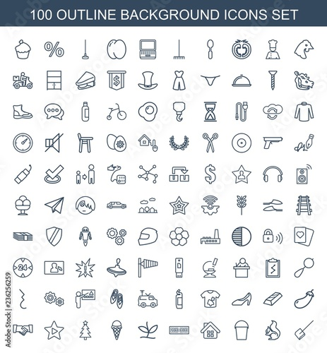 background icons  Set of 100 outline background icons