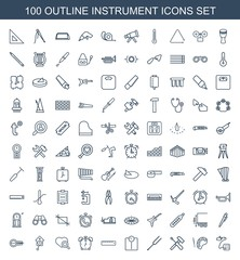 instrument icons. Set of 100 outline instrument icons included blood pressure, palette, screwdriver, tonometer on white background. Editable instrument icons for web, mobile and infographics.