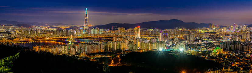 Panoramic night view of beautiful Seoul city viewed from the mountain