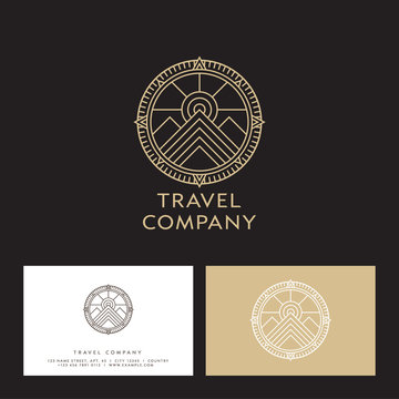 Travel company logo. Mountain peaks and sun in a compass circle. Emblem for sportswear, mountaineering and mining equipment. Monochrome option.