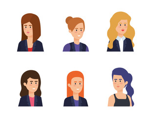 group of businesswomen avatars characters