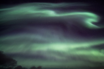 Colorful Northern lights, Aurora borealis on night sky