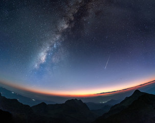 Milky way galaxy with shooting star at twilight sunset