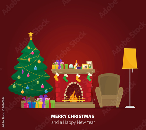Christmas fireplace with gifts, socks and candles  Flat