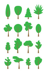 Flat trees set. Flat forest tree nature plant isolated eco foliage.