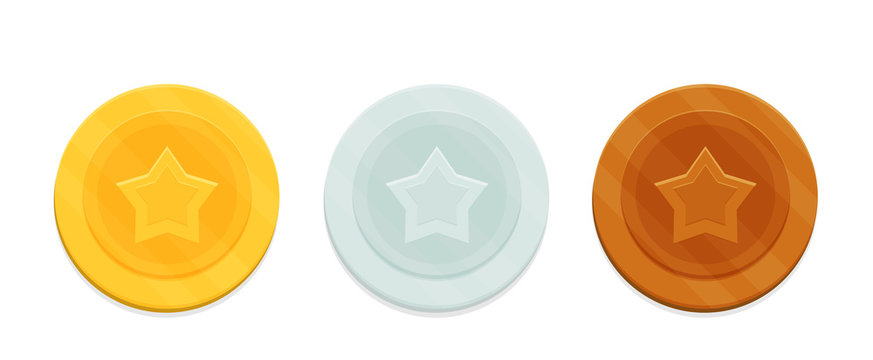 Coins with the image of the star. Gold, silver and bronze coins or medals set. Vector illustration in flat style.
