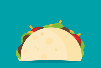 Simple taco in flat style, vector illustration