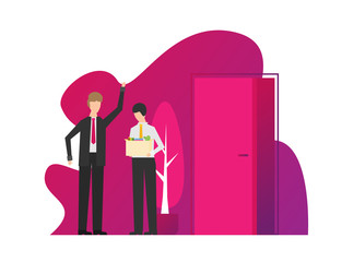 Angry boss dismisses employee. Fired sad man carrying box with his things. Flat vector illustration.