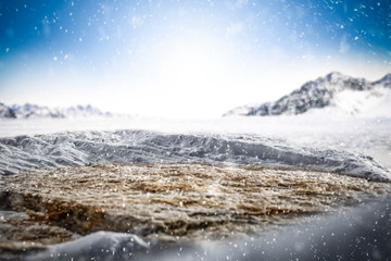 Winter background of free space and snowflakes