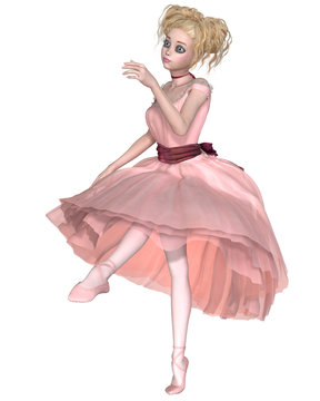 Cute Blonde Ballerina in a Pink Tutu, Dancing - illustration
