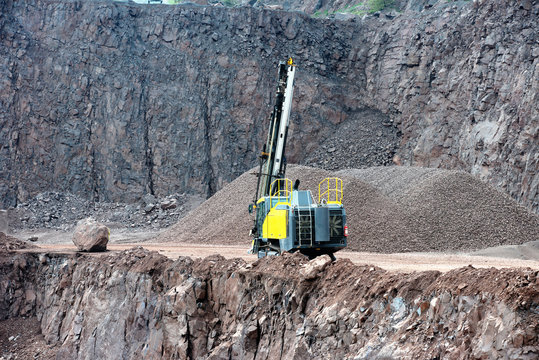 Drill equipment in a open pit mine