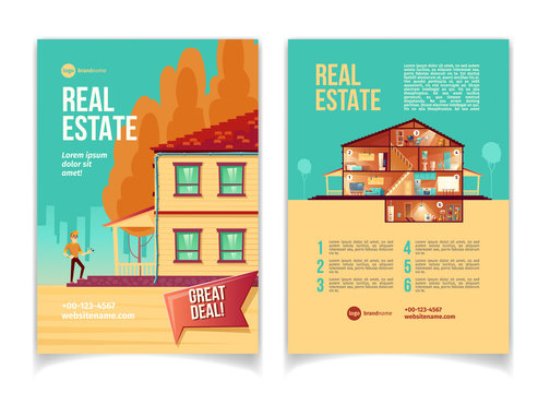 New real estate object cartoon vector advertising brochure, flyer with happy man standing on cottage porch with key in hand, house rooms cross section plan, benefits list. Construction company booklet