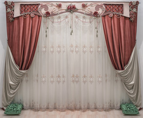 An interior in the classical, palace style. Double-sided curtains. Pelmet is decorated flowers, beads and cords.