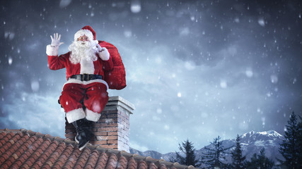 Santa Claus Greeting On Roof