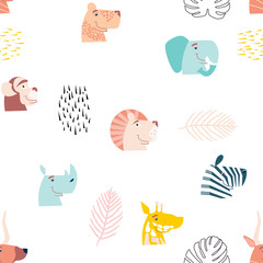 Vector seamless pattern, cute jungle animals. African animals.