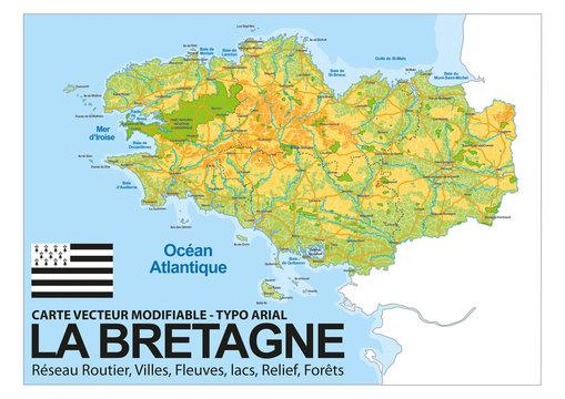 CARTE BRETAGNE / Relief, Villes, Réseaux routier, fleuves