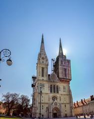 Large panoramic view of Roman Catholic Zagreb Cathedral on Kaptol