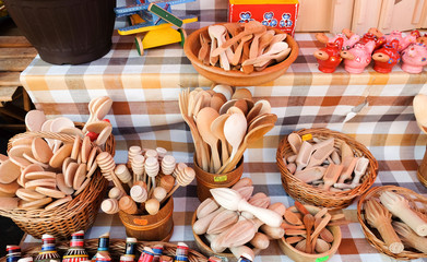 Wooden spoons and other kitchenware at Dolac, central farmers' market located in Gornji Grad. Zagreb