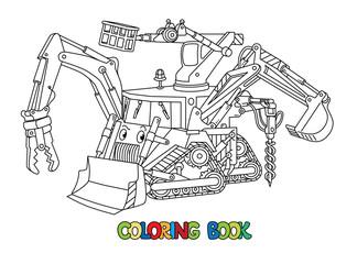 Funny small bulldozer multi tool coloring book