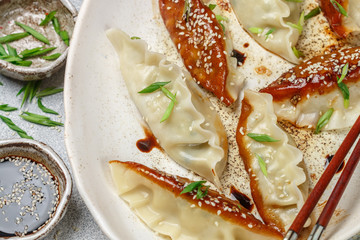 Fried Korean dumplings with meat and vegetables on a white plate with sesame, soy sauce and green onions on a gray concrete surface. Asian cuisine