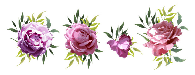 Rose flowers with green leaves floral wedding bouquets peach pink