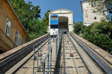 Zagreb funicular or cable car at historic center of croatian capital