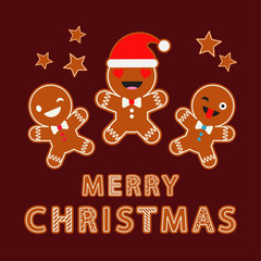 Gingerbread on a brown background. Christmas gingerman. Cute cartoon. Can be used for wallpaper, textile, invitation card, wrapping, web page background.