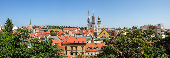 Very large panoramic view on Roman Catholic Zagreb Cathedral and old town of croatian capital