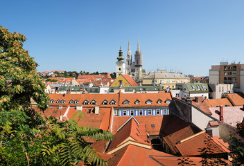 Large panoramic view on old town of Zagreb, Croatia