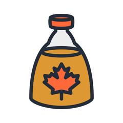 Maple Syrup Bottle Flat Color Line Stroke Icon Pictogram