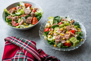 Tuna Fish Salad with Lettuce, Cherry Tomatoes, Cucumber and Corn.