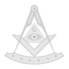 Gray masonic square and compass symbol, with triangle, eye and G letter. Mystic occult esoteric, sacred society. Vector illustration