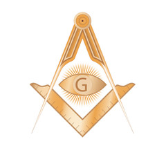 Copper masonic square and compass symbol, with G letter in an eye on sun rays. Mystic occult esoteric, sacred society. Vector illustration