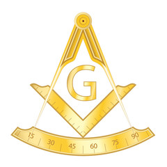 Golden masonic square and compass symbol, with G letter. Mystic occult esoteric, sacred society. Vector illustration