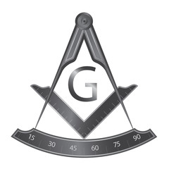 Black iron masonic square and compass symbol, with G letter. Mystic occult esoteric, sacred society. Vector illustration